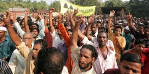 Fisherfolk in Sakhri Nate protesting against Areva's project