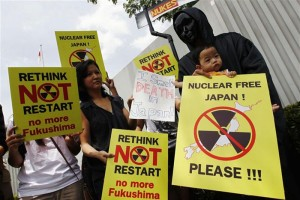 Nuclear restart plans in Japan: people gather to protest the move